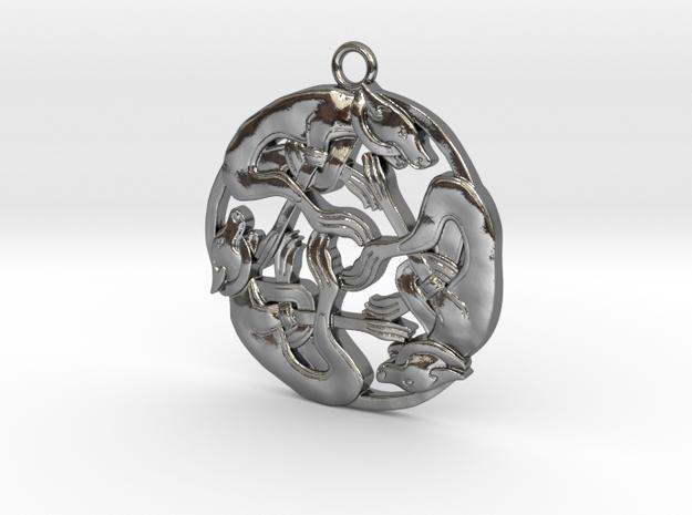 Celtic-Dog in Polished Silver