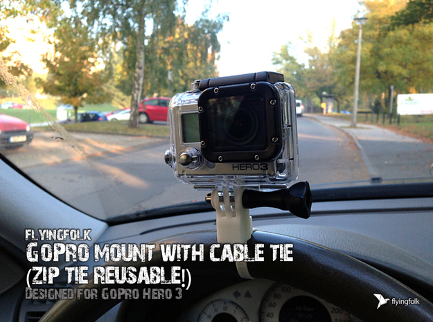 GoPro mount with cable tie (zip tie reusable!) 3d printed