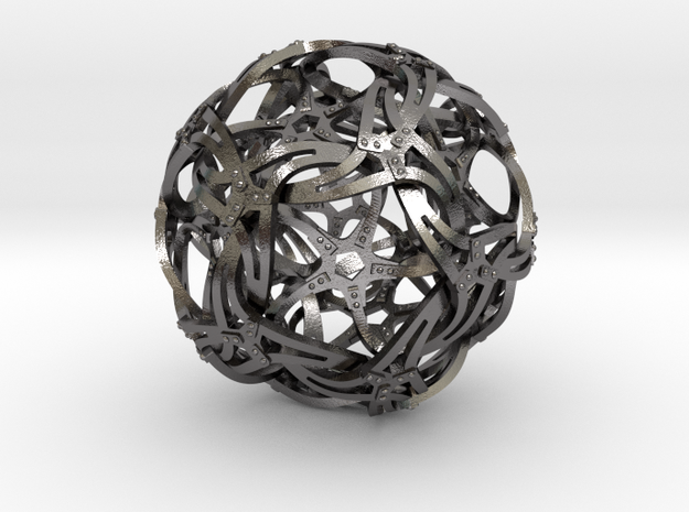 Dodecahedron Starfish B in Polished Nickel Steel