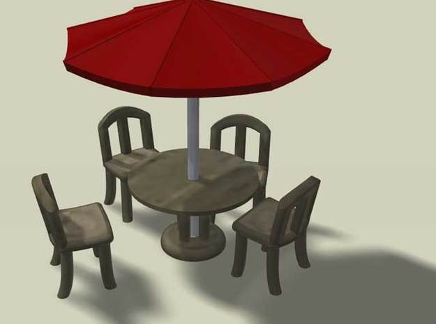 Sidewalk Cafe Set, HO Scale (1:87) in White Strong & Flexible