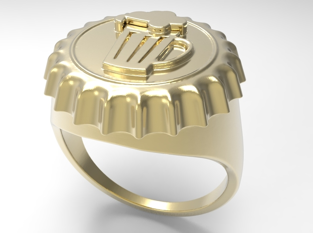 Beer Cap Ring G in 18k Gold Plated: 10 / 61.5