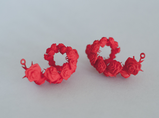 Rose Earrings in Red Processed Versatile Plastic