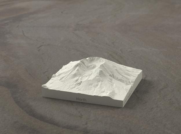 3'' Mt. St. Helens, Washington, USA, Sandstone 3d printed Radiance rendering of model from north