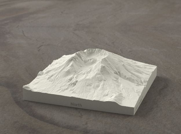 4'' Mt. St. Helens, Washington, USA, Sandstone 3d printed Radiance rendering of model from north