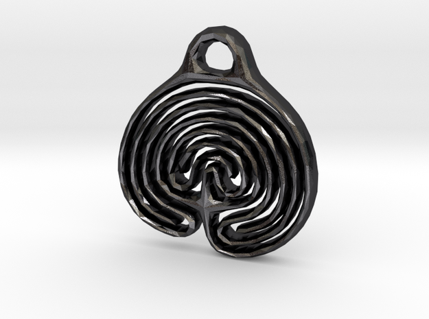 Labyrinth Pendant in Polished and Bronzed Black Steel