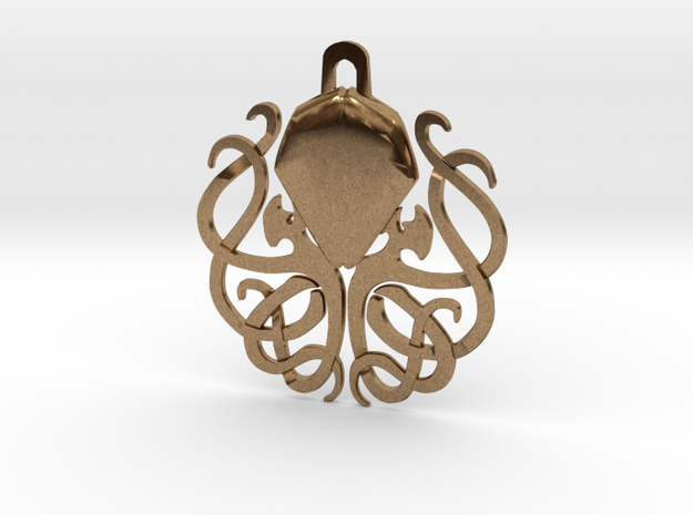 Tribal Cthulhu Pendant in Natural Brass