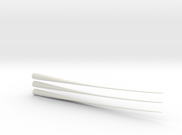 Z Scale Wind Turbine Blades 3 Pack - (Part 2 of 2) in White Natural Versatile Plastic