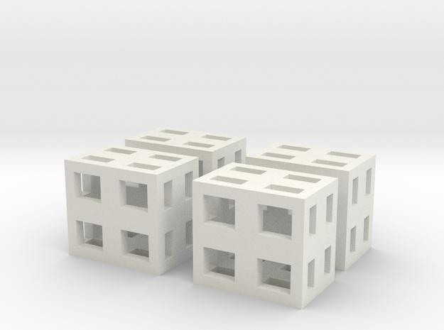 Boxes 4x scale 1-100 in White Natural Versatile Plastic: 1:100