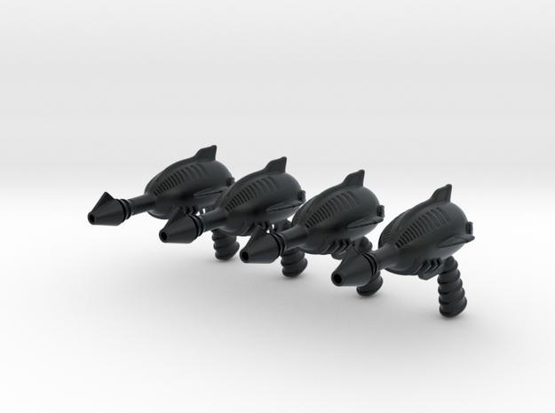 """""""Space Angel"""" Blaster Pistol - 4 Pack (1:6 Scale) in Black Hi-Def Acrylate"""