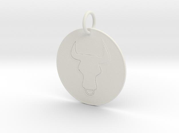 Taurus Keychain in White Natural Versatile Plastic
