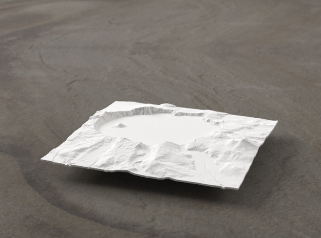 4'' Crater Lake, Oregon, USA 3d printed Radiance rendering of model, viewed from the south.