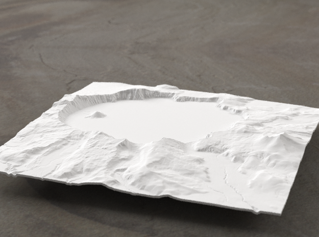 6'' Crater Lake, Oregon, USA 3d printed Radiance rendering of model, viewed from the south.