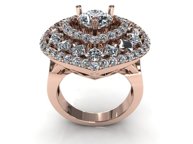 Heart Love Diamond Ring in Frosted Ultra Detail
