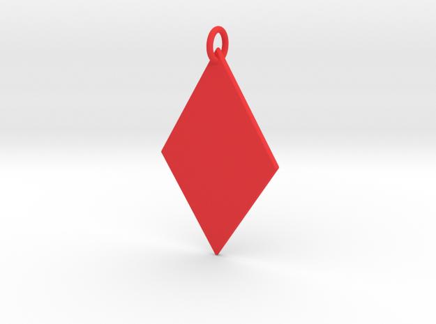 Diamond Pendant in Red Processed Versatile Plastic