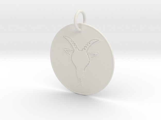 Capricorn Keychain in White Natural Versatile Plastic