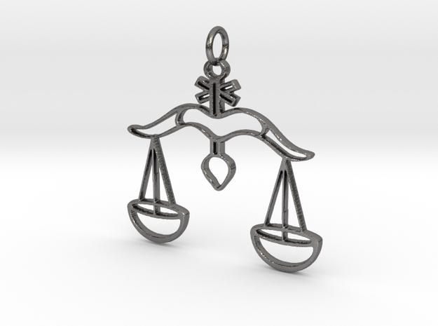 Scales of Justice Pendant in Polished Nickel Steel