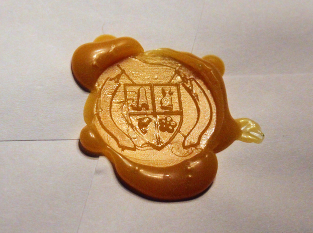 Montucio Wax Seal Stamp 3d printed Photo of my first wax seal, I still need to figure out the art of sealing with wax. I'm a bit messy.