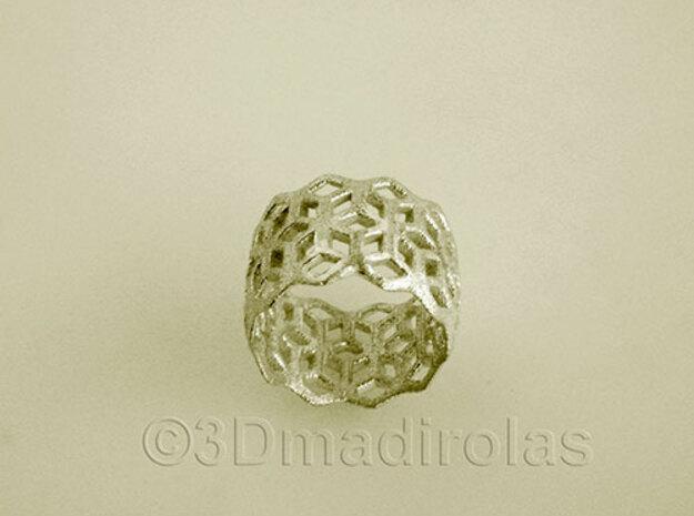 geometric ring 6 in Raw Silver