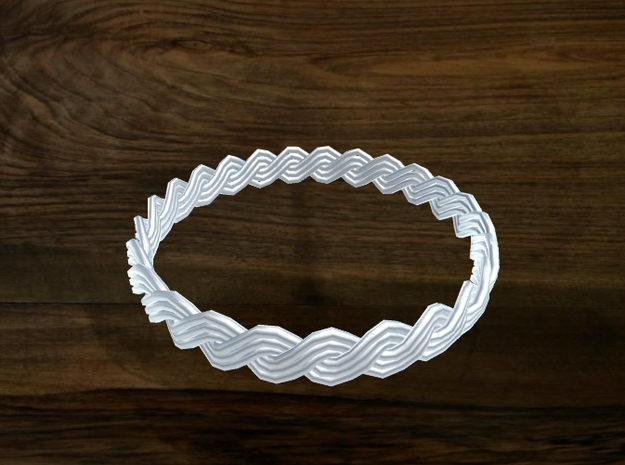Turk's Head Knot Ring 2 Part X 25 Bight - Size 26. 3d printed