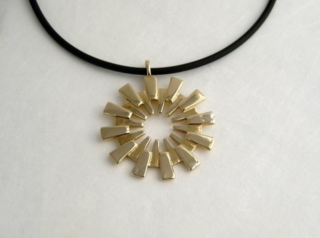 Sunburst Pendant - Printed Light in Fine Metals 3d printed Sunburst Pendant in Polished Brass