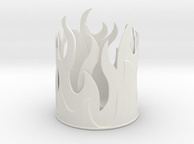 Flame Pencil Holder in White Natural Versatile Plastic