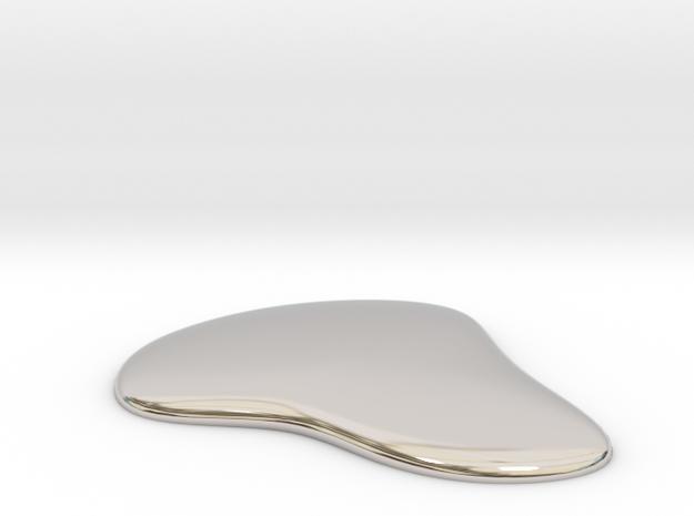 Liquid Drop Large 5.2x5.7 cm  in Rhodium Plated Brass