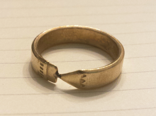 Pencil Ring, Size 10 in Raw Brass