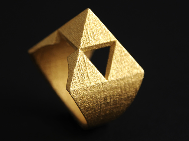 Triforce Ring in Polished Gold Steel