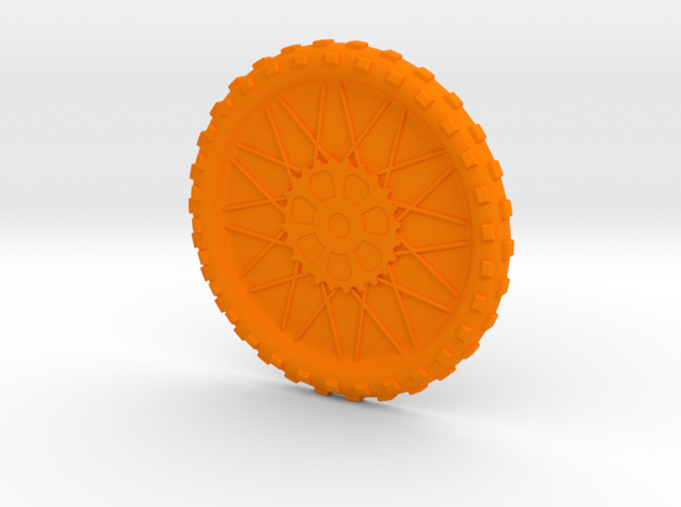 Motorcycle wheel and tire beverage coaster, large in Orange Processed Versatile Plastic
