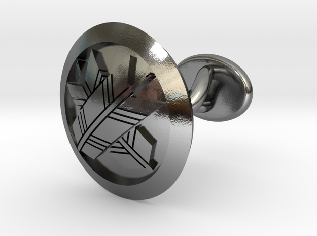 "Japanese mark cufflink ""丸に違い矢紋"" in Polished Silver: Small"