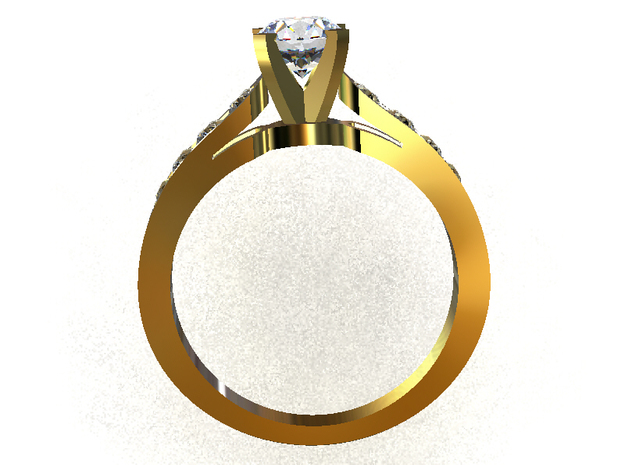 CCW36 Solitaire Ring in Smooth Fine Detail Plastic