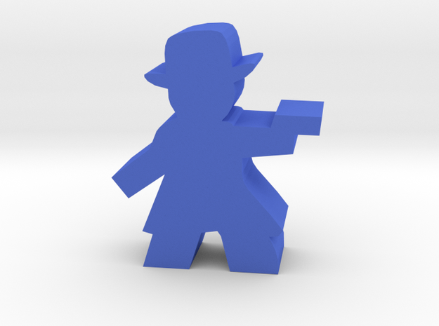 Game Piece, Gunman with fedora, trenchcoat, pistol in Blue Processed Versatile Plastic