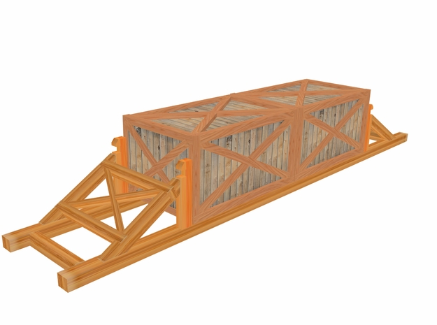 Flat Car Load 50ft Crates 3d printed 3 D Max 8 Drawing by Walter Smith