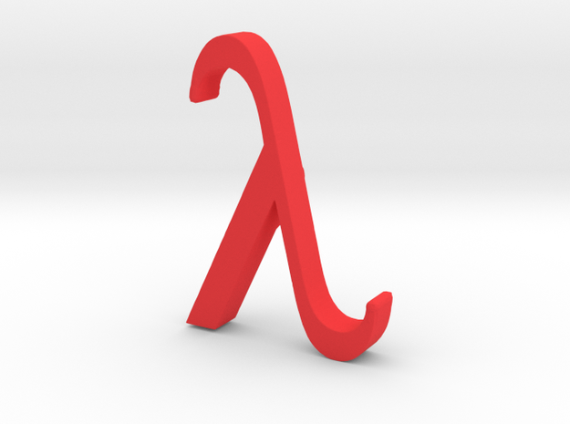 Greek Jewelry - Lambda Pendant in Red Strong & Flexible Polished