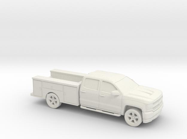 1/87 2016 Chevrolet Silverado Crew/ Utiliti in White Natural Versatile Plastic