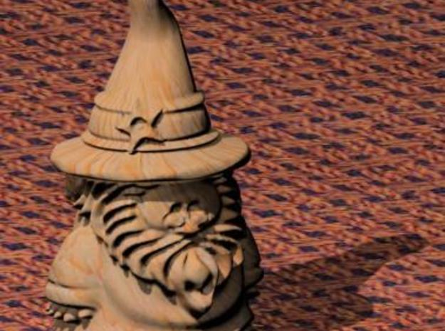 Wizard (xtra-small) 3d printed A digital rendering with a wood texture to show the detail.