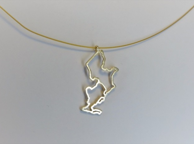 Ijsselmeer Nautical Chart Pendant in Natural Brass