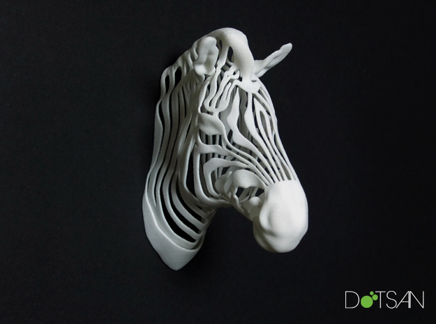 3D Printed Wired Life Zebra Trophy Head Wall in White Natural Versatile Plastic