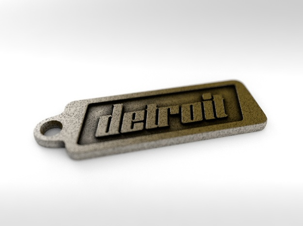 Detroit, Michigan Keychain in Polished Bronze Steel