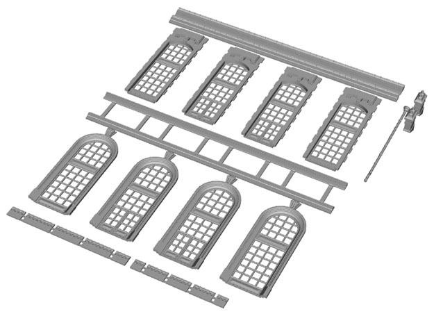 NGG-BVA01b - Large Railway Station in Smooth Fine Detail Plastic