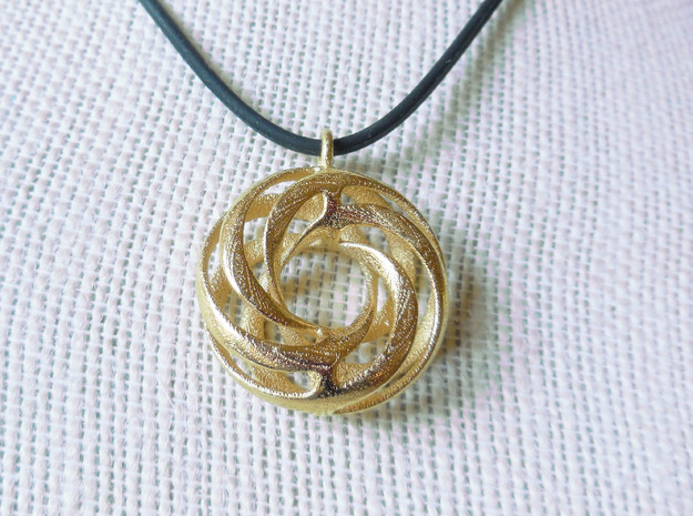 Twisted Torus Pendant in metal in Polished Gold Steel