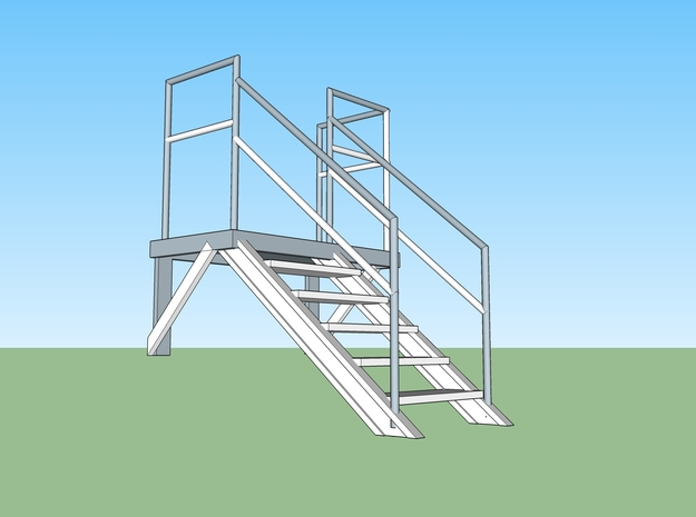 Pump House Stairs in O in Smooth Fine Detail Plastic