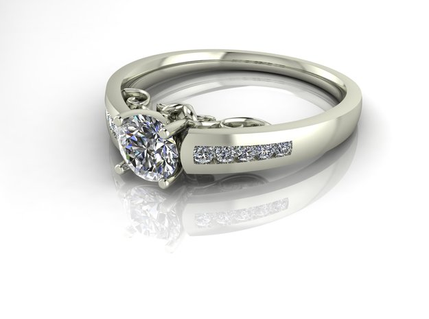 Detailed Solitaire 3 NO STONES SUPPLIED in Premium Silver