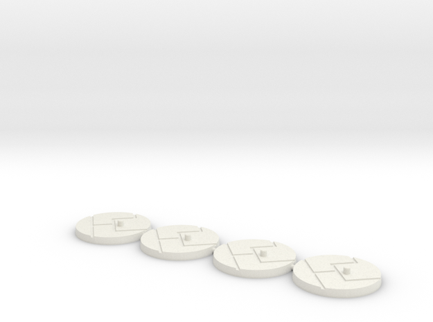 "1"" Titan Scale Bases (4)  in White Strong & Flexible"