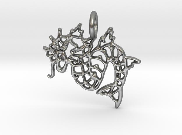 Gyarados Pendant II in Natural Silver