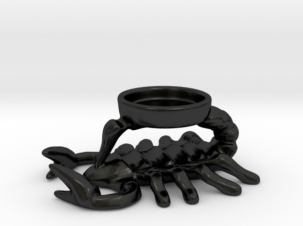Ceramic Scorpion Candle Holder in Matte Black Porcelain
