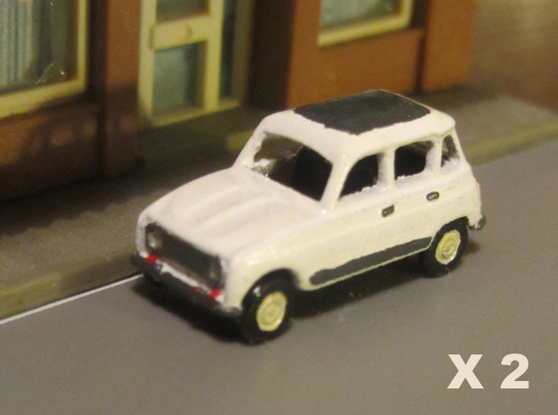 Renault 4 Hatchback 1:160 scale (Lot of 2 cars) in Smooth Fine Detail Plastic