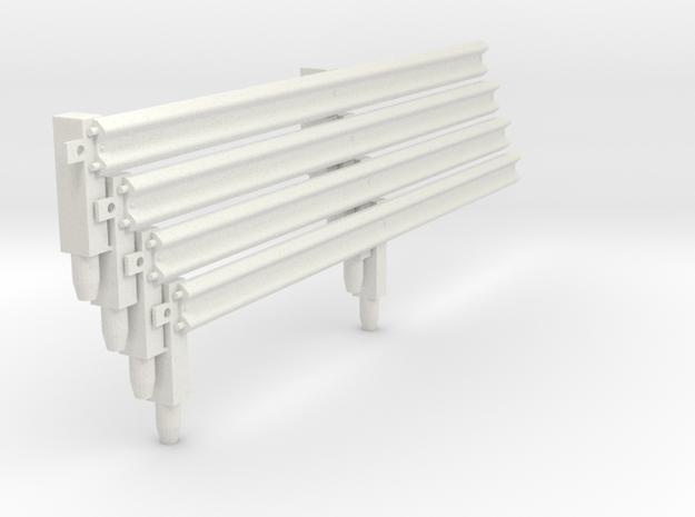 Armco Rail On 2 Wooden Posts, 4pcs in White Strong & Flexible