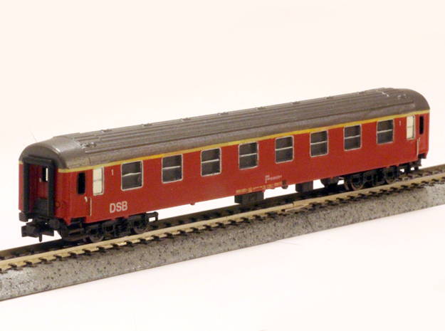 DSB class A coach (late version) N scale in Smooth Fine Detail Plastic