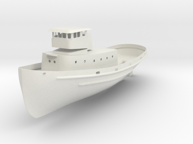 1/96 scale YTB Tugboat - Hull, Rudder, and structu in White Natural Versatile Plastic